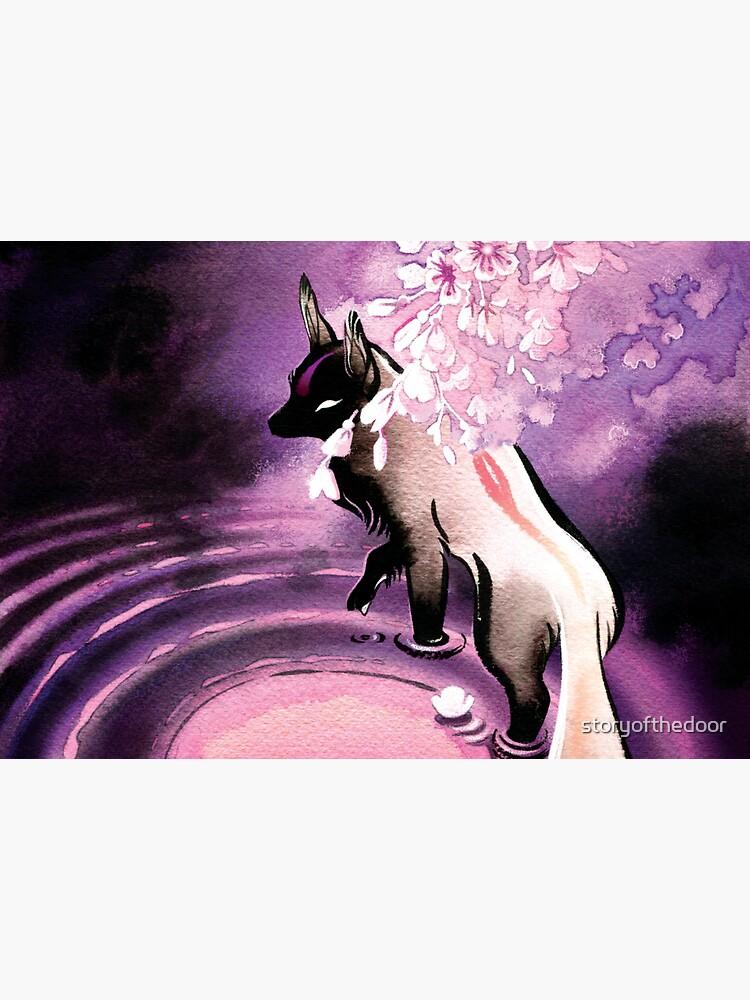 Rose Moon Sakura Blossom Fox by storyofthedoor