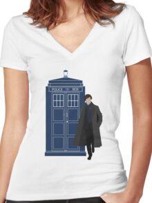 Dr. Who / Sherlock Women's Fitted V-Neck T-Shirt
