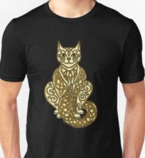 Celtic Cat 7 Cream and Gold Unisex T-Shirt