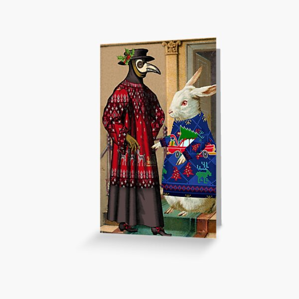 Ugly Christmas Sweaters Plague Doctor and Rabbit Greeting Card