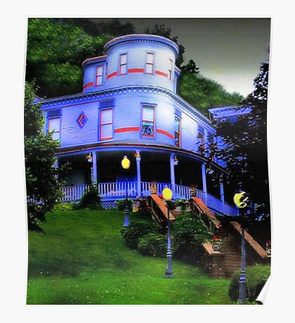 Blue Victorian at Dusk Poster