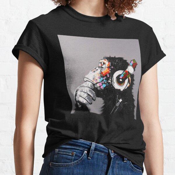 DJ Monkey With Headphones Thinking  Classic T-Shirt