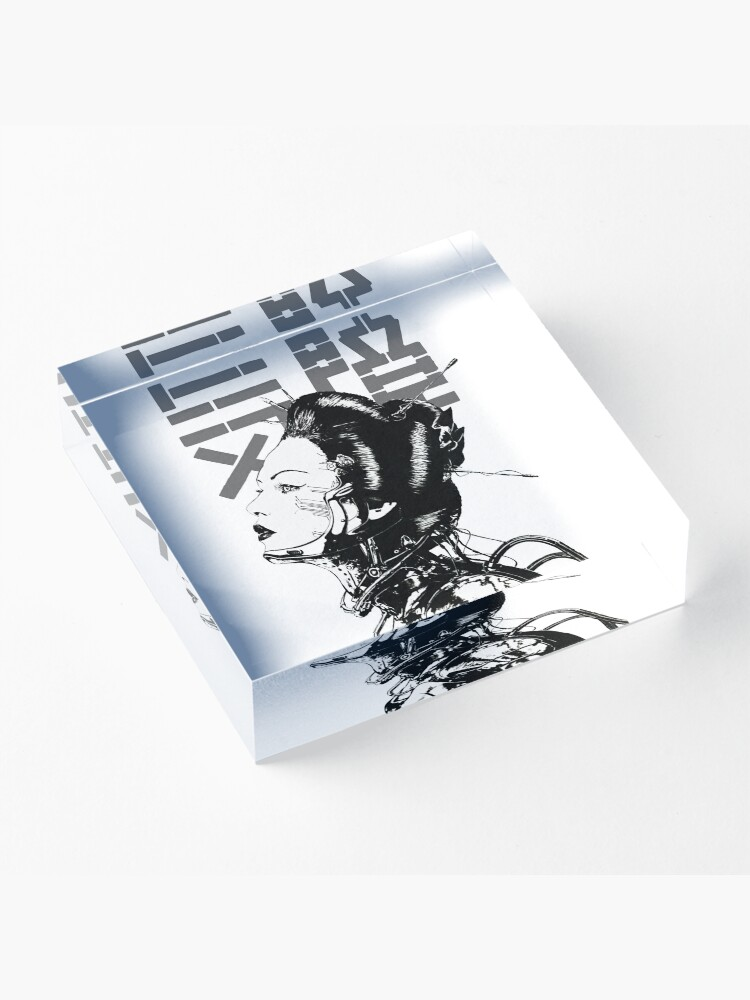 Alternate view of Cyberpunk Girl Vaporwave Aesthetic Acrylic Block