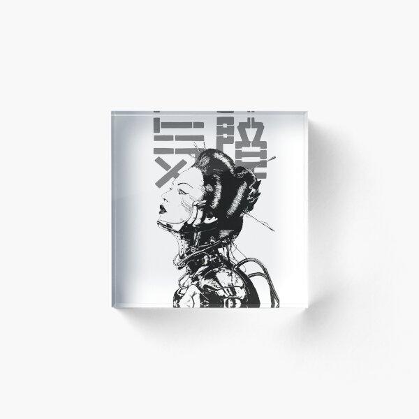 Cyberpunk Girl Vaporwave Aesthetic Acrylic Block
