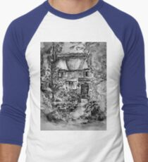 Thatched Cottage - Black & White Version of Original Painting  Men's Baseball ¾ T-Shirt