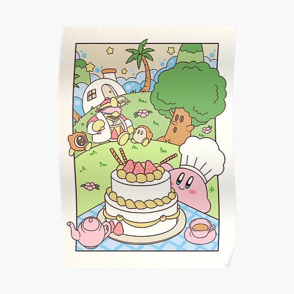 Kirby et King Dedede Tea Party Poster
