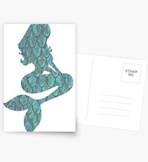 Blue Scale Mermaid Silhouette Postcards