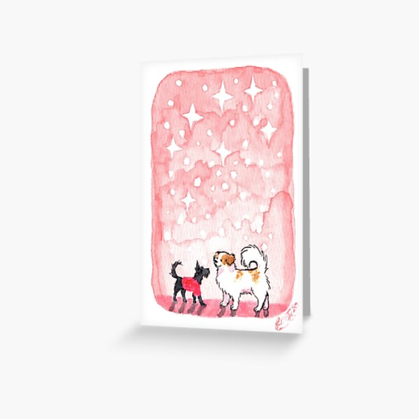 Twinkly snowfall dogs Greeting Card