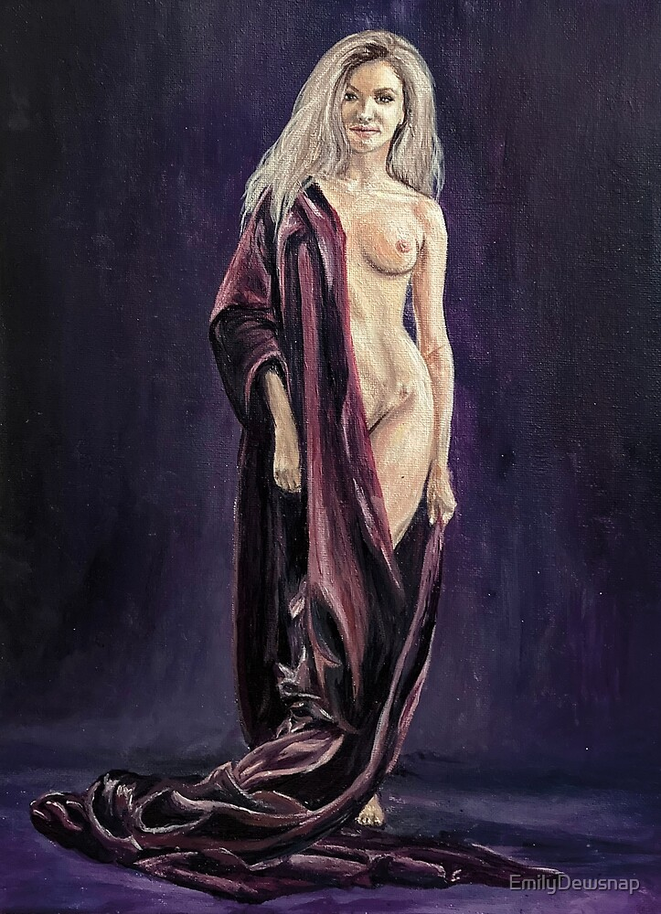 Liberty - Beautiful Nude Wrapped in Royal Purple Silk Sheets by EmilyDewsnap