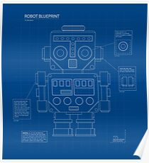Retro robot blueprint Poster