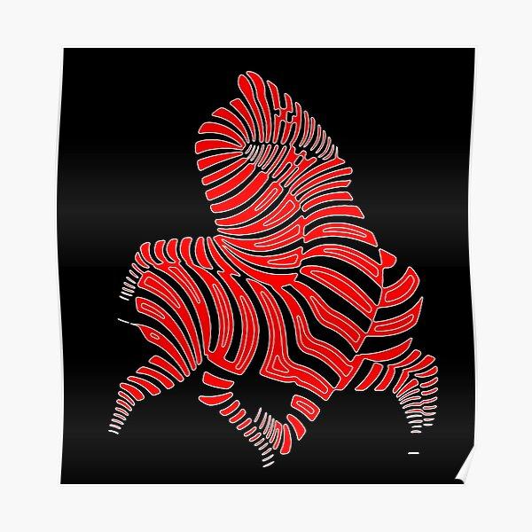 Red Zebras maze op art Poster