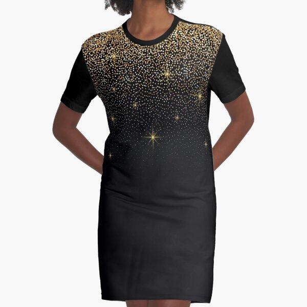 black and gold glitter pattern Graphic T-Shirt Dress