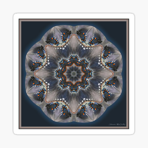 Swallowtail Butterfly Mandala Meditation Sticker