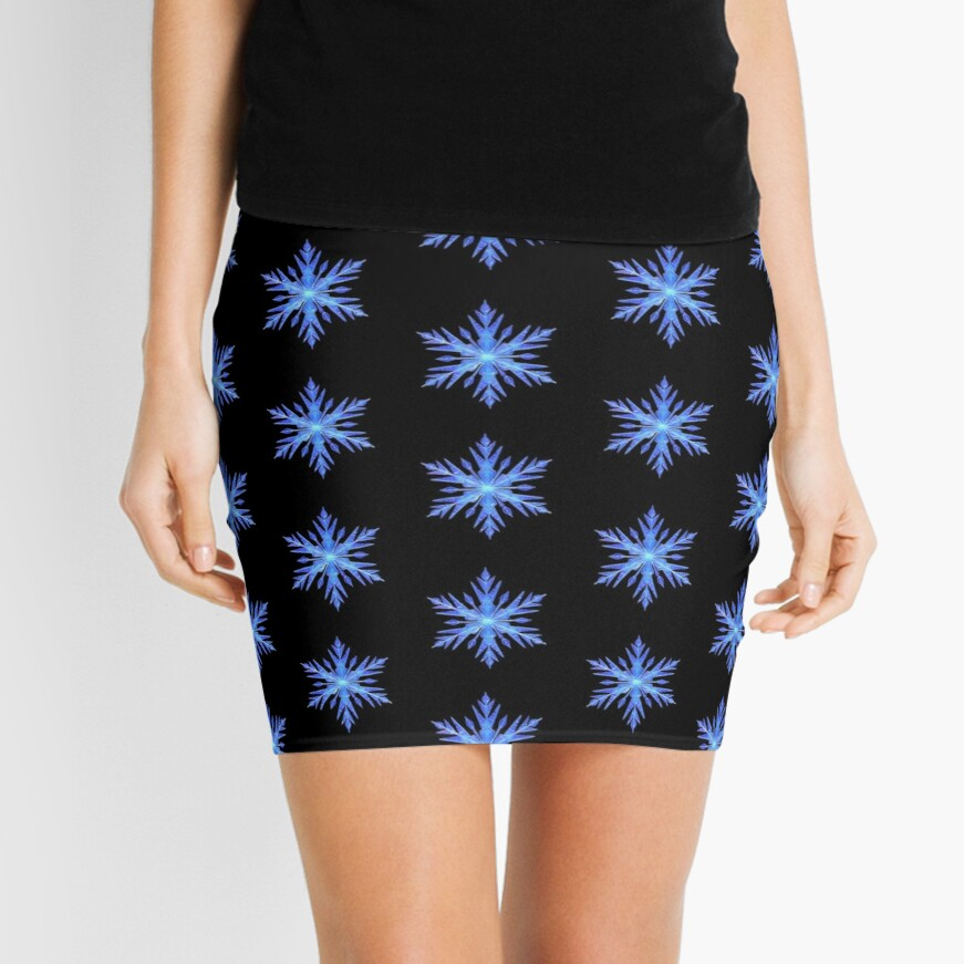 Blue Snowflake  Mini Skirt
