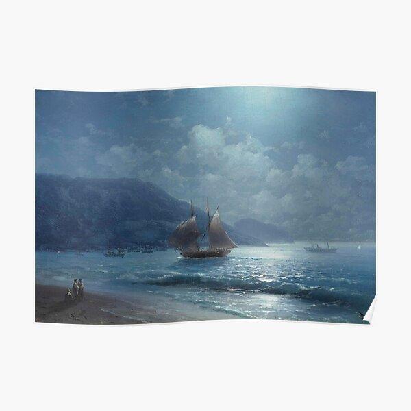 Off the Coast near Yalta by Moonlight (19th century) - Ivan Aivazovsky Poster