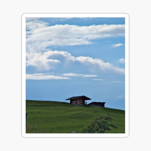 Hut on the mountainside Sticker