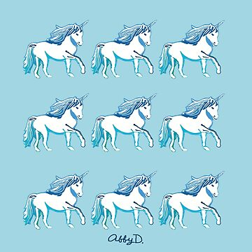 Blue and White Unicorns Pattern by AbigailDavidson