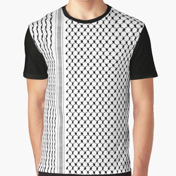 Palestinian Hatta Kufiya Folk Pattern #2-Black, Palestine Arabic Traditional Keffiyeh Design Graphic T-Shirt