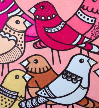 Colourful birds in pink Sticker