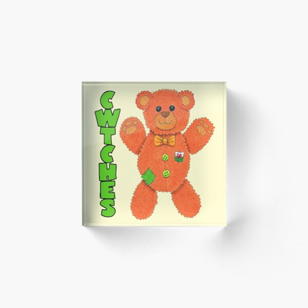 Cwtchy Teddy Bear - send a hug to a loved one or someone in isolation / shielding Acrylic Block