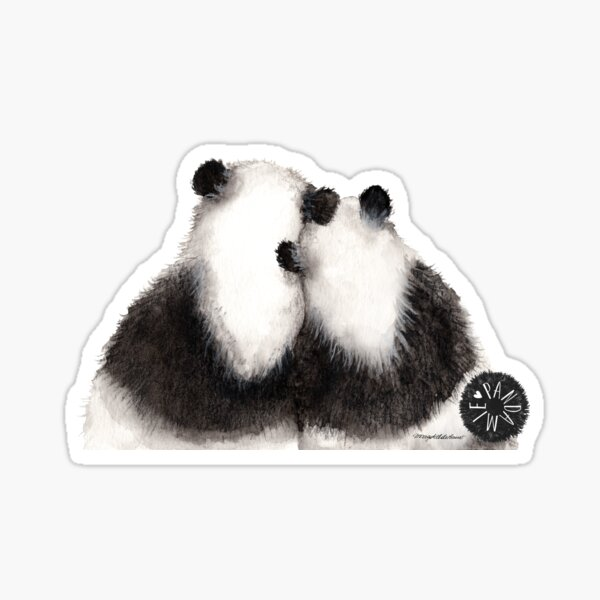 Pandamie: Giant Panda Couple leaning on each other Sticker