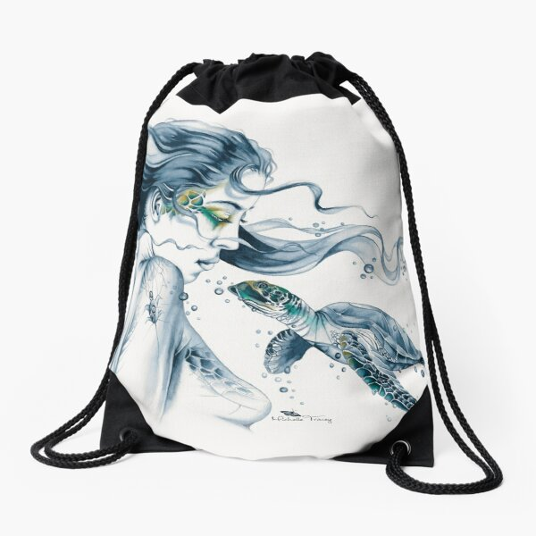 Sea Turtle Totem Drawstring Bag