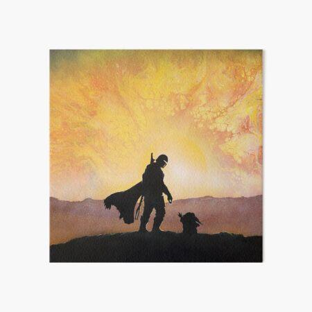 mando hunter and child canvas Art Board Print