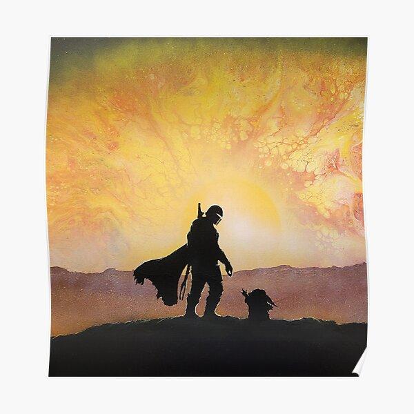 mando hunter and child canvas Poster