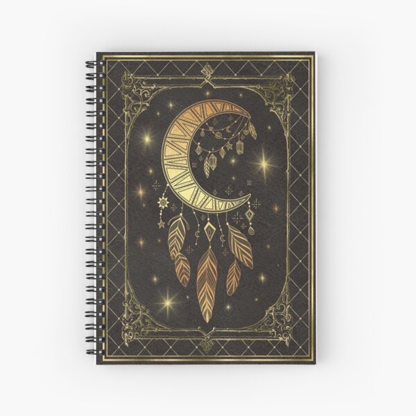 Moon feathers magic book Spiral Notebook