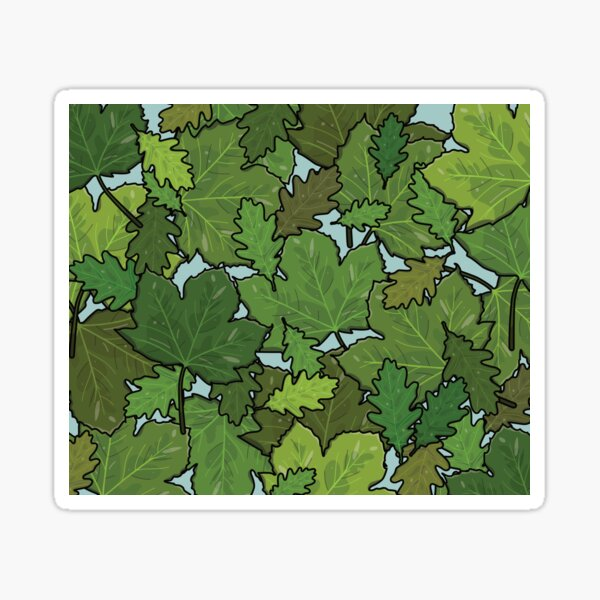Green Oak and Sycamore Leaves Pattern Sticker