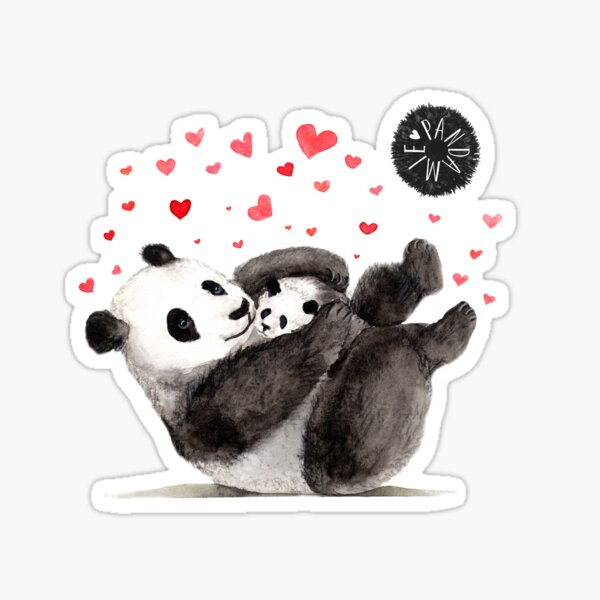 Giant Panda Mother and Baby cuddling Sticker