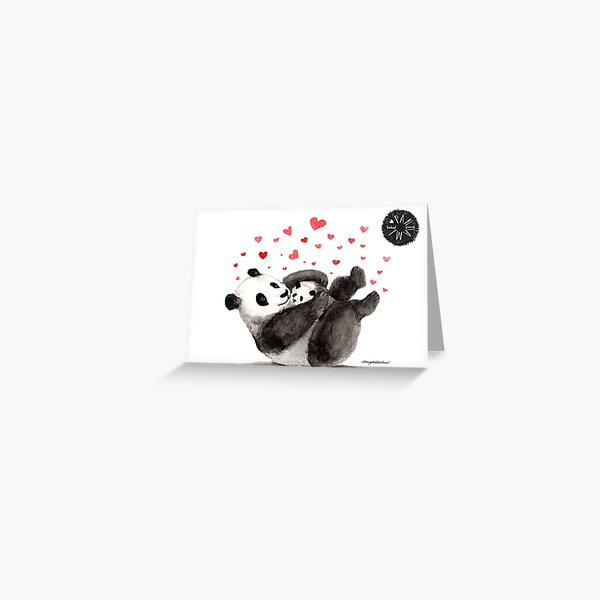 Giant Panda Mother and Baby cuddling Greeting Card