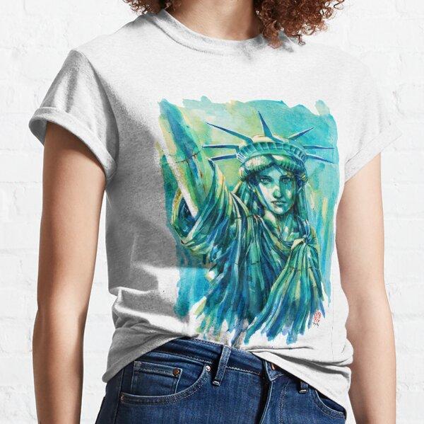 Lady Liberty Resolute Original Watercolor Classic T-Shirt