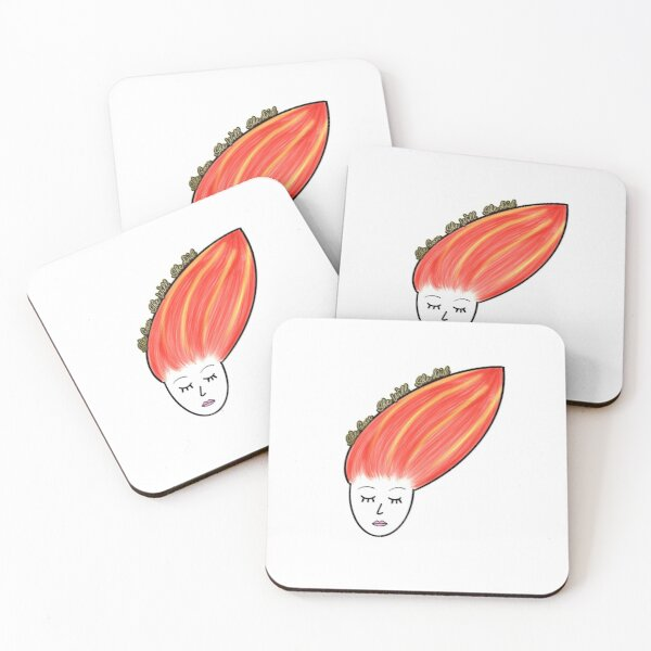 She Can.  She Will.  She Did.  (Red Hair) Coasters (Set of 4)