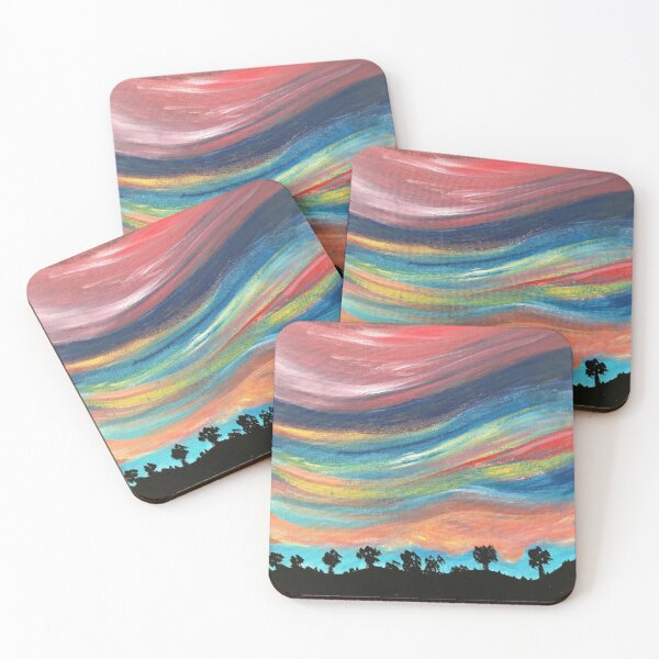 Pink California Sunset Coasters (Set of 4)