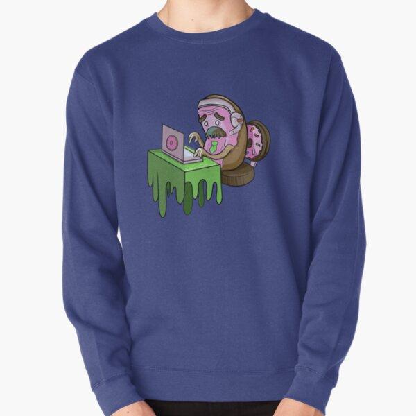 Remote Office Worker Pink Donut Pullover Sweatshirt
