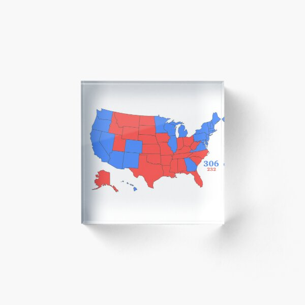 Electoral College Map 2020 with Numbers Acrylic Block