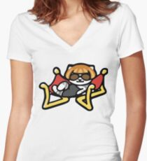 Lady Meow Meow - Neko Atsume Women's Fitted V-Neck T-Shirt