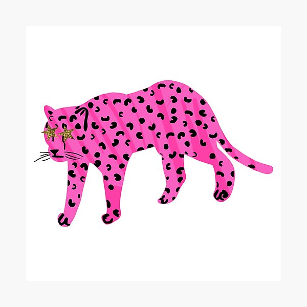 neon pink star eyed leopard  Photographic Print