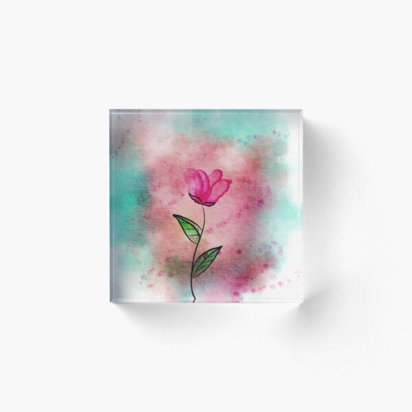 Water Color Flower Painting Acrylic Block