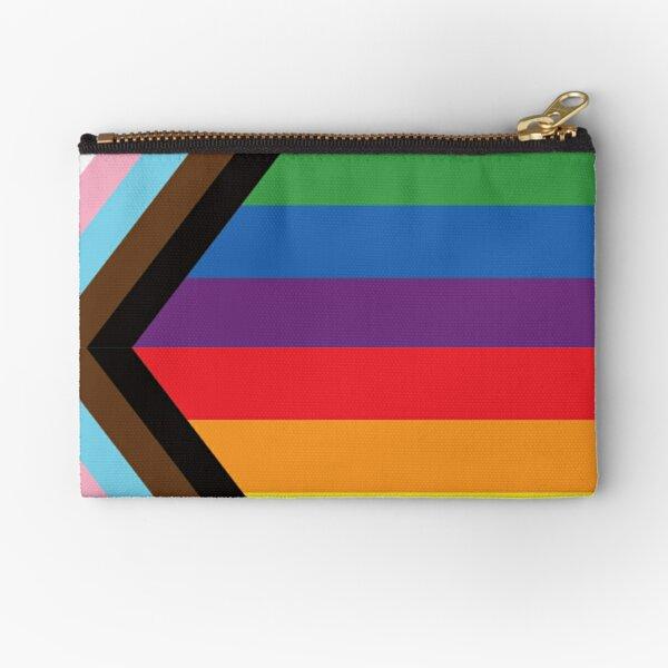 Rebooted Progress Pride Flag by Daniel Quasar. Representation matters. Zipper Pouch