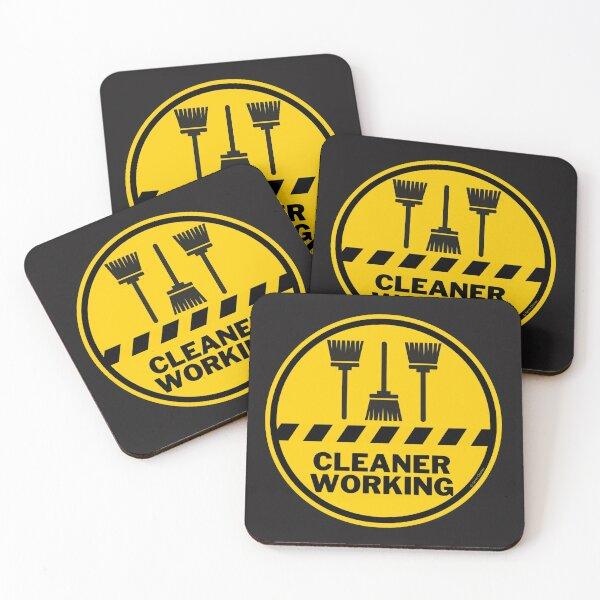 Cleaner Working Cleaning Crew Housekeeping Humor Coasters (Set of 4)