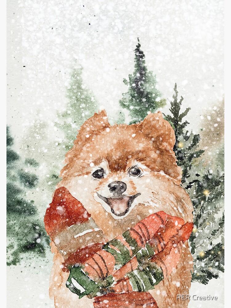 Cute Pomeranian enjoying a Winter Wonderland by rereynoso