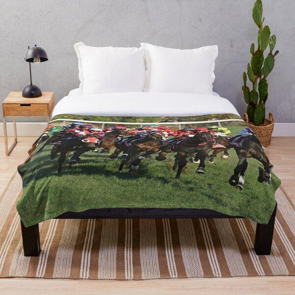 Horse racing action 11 Throw Blanket