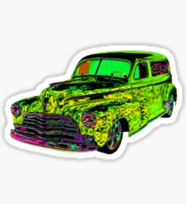 1946 SEDAN DELIVERY YELLOW FIRE ON GREEN Sticker