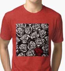 Seamless pattern with black roses flowers.  Tri-blend T-Shirt