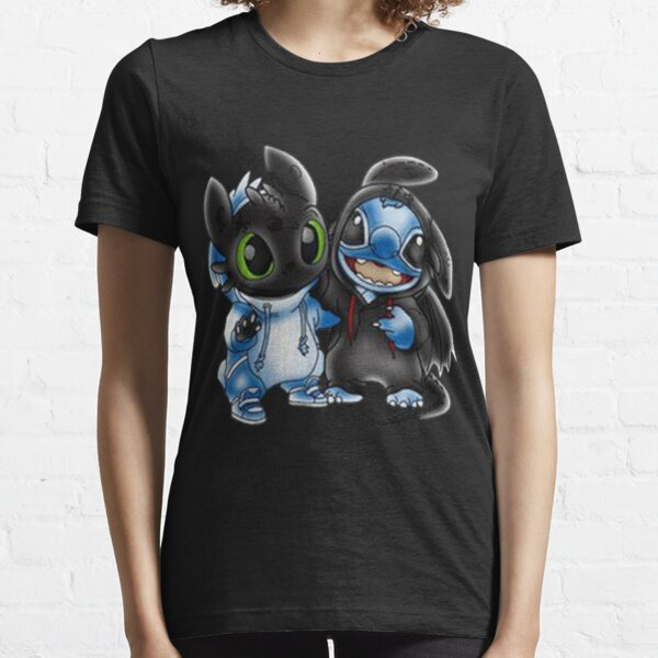 Toothless T-shirt Stitch And Toothless Night Fury Change Uniform  Essential T-Shirt