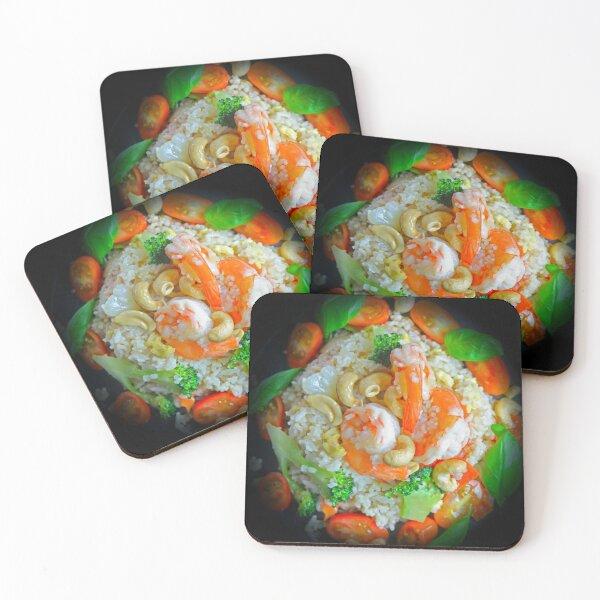 Fried Rice Tomato Shrimp And Broccoli Coasters (Set of 4)