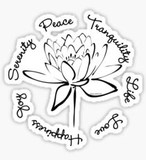 Serenity Tranquility Lotus (Black) Sticker
