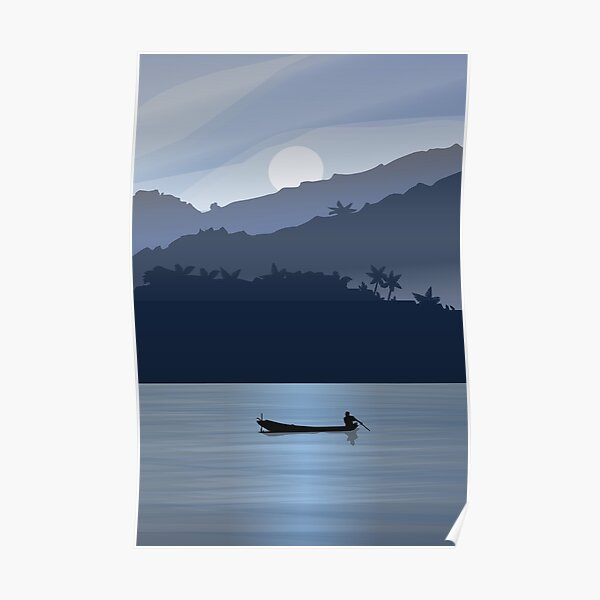 Blue moment by the Mekong river Poster